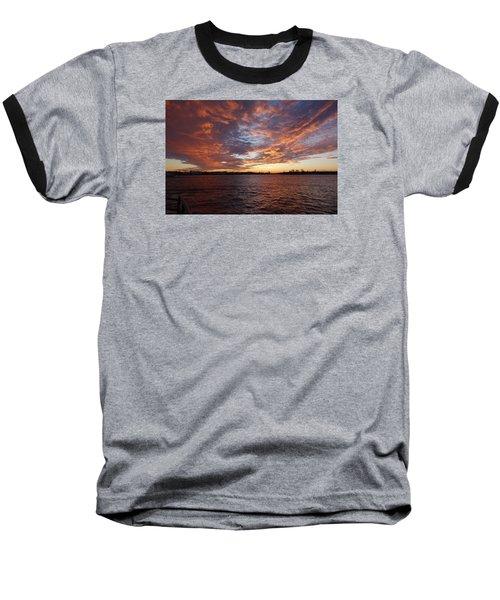 Sunset Over Manasquan Inlet Baseball T-Shirt by Melinda Saminski