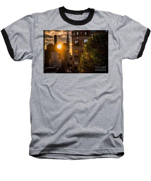 Sunset Over Manhattan New York City Baseball T-Shirt