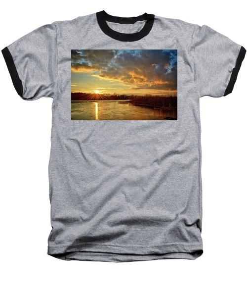 Sunset Over Marsh Baseball T-Shirt by Bonfire Photography
