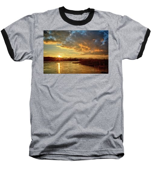 Sunset Over Marsh Baseball T-Shirt