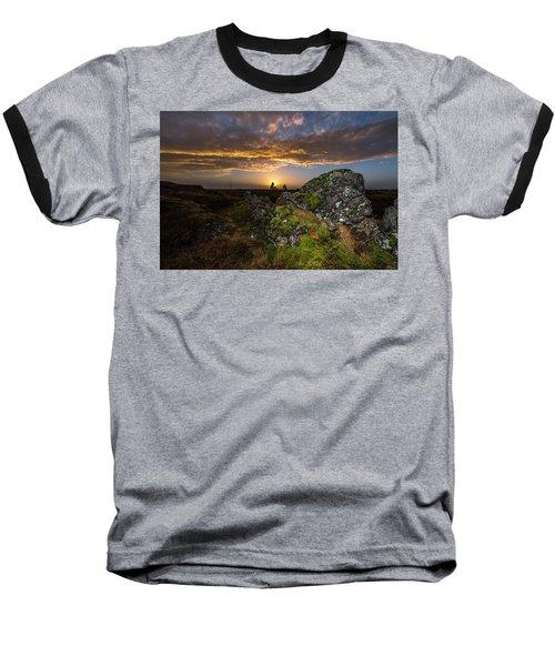 Sunset Over Marsh Baseball T-Shirt