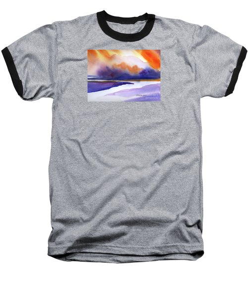 Baseball T-Shirt featuring the painting Sunset Over Marsh by Yolanda Koh