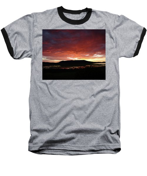 Baseball T-Shirt featuring the painting Sunset Over Mormon Lake by Dennis Ciscel