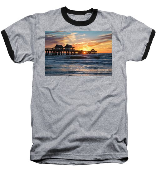 Baseball T-Shirt featuring the photograph Sunset Over Naples Pier by Brian Jannsen