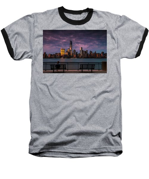 Baseball T-Shirt featuring the photograph Sunset Over New World Trade Center New York City by Ranjay Mitra