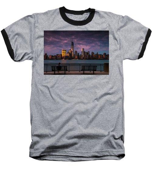 Sunset Over New World Trade Center New York City Baseball T-Shirt