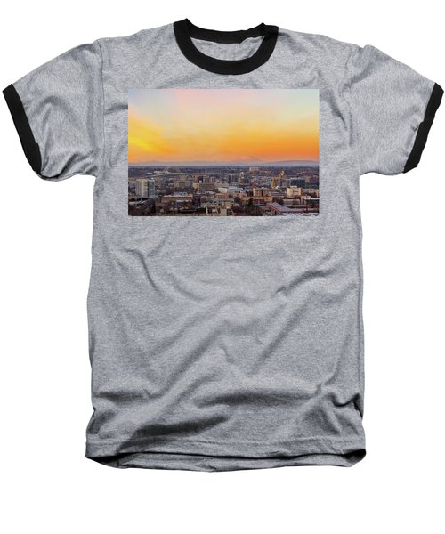 Sunset Over Portland Cityscape And Mt Saint Helens Baseball T-Shirt