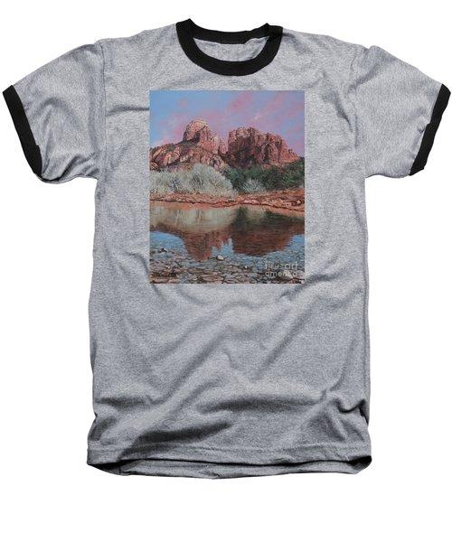 Sunset Over Red Rocks Of Sedona  Baseball T-Shirt by Barbara Barber