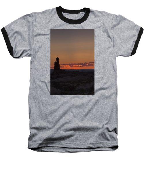 Sunset Over Rock Formation Baseball T-Shirt