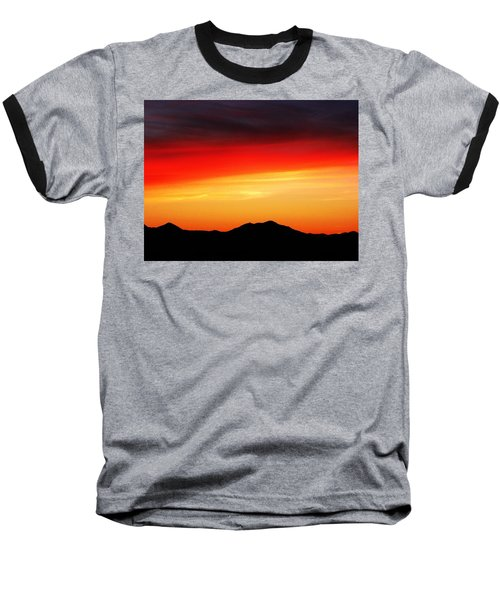 Baseball T-Shirt featuring the photograph Sunset Over Santa Fe Mountains by Joseph Frank Baraba
