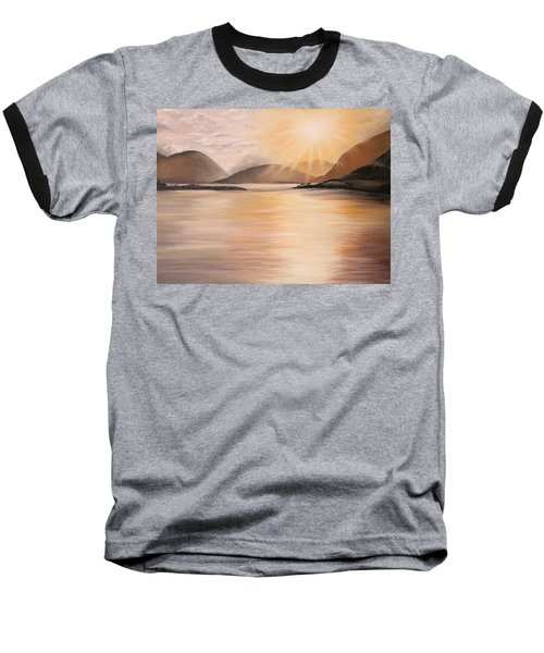 Baseball T-Shirt featuring the painting Sunset Over Scottish Loch by Elizabeth Lock
