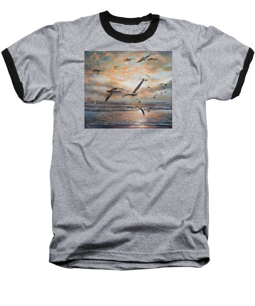Sunset Over The Sea Baseball T-Shirt