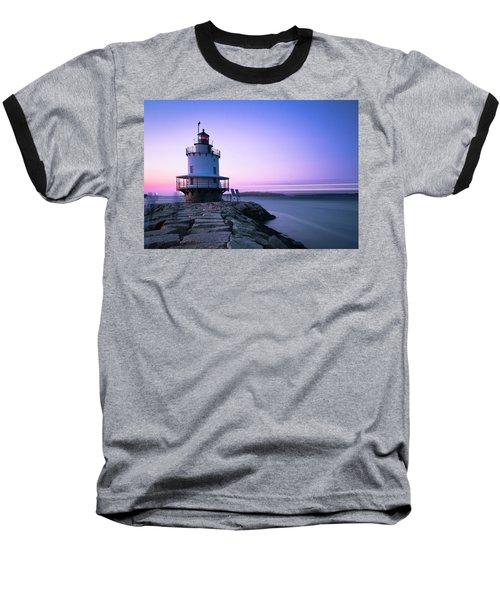 Sunset Over Spring Breakwater Lighthouse In South Maine Baseball T-Shirt