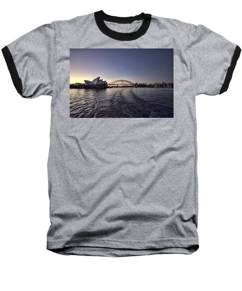 Sunset Over Sydney Harbor Bridge And Sydney Opera House Baseball T-Shirt by Douglas Barnard