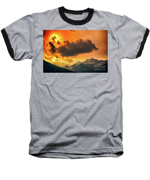 Baseball T-Shirt featuring the photograph Sunset Over The Alps by Silvia Ganora