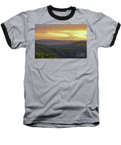 Baseball T-Shirt featuring the photograph Sunset Over The Bluestone Gorge - Pipestem State Park by Kerri Farley