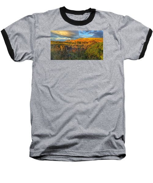 Sunset Over The Campsie Fells Baseball T-Shirt by RKAB Works