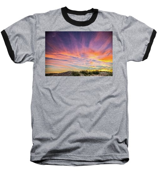 Sunset Over The Dunes Baseball T-Shirt by Vivian Krug Cotton