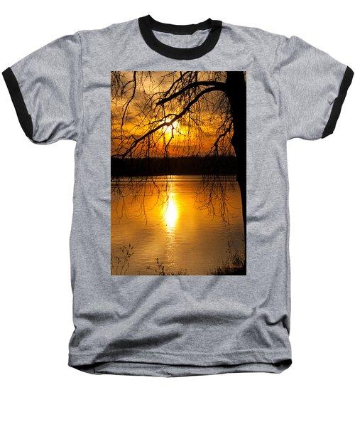 Sunset Over The Lake Baseball T-Shirt