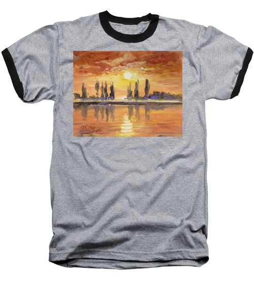 Sunset Over The Lake Baseball T-Shirt by Irek Szelag