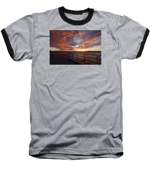 Baseball T-Shirt featuring the photograph Sunset Over The Manasquan Inlet 2 by Melinda Saminski