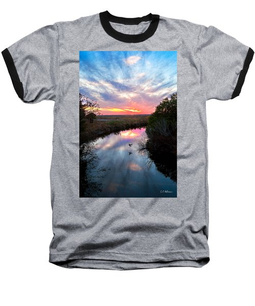 Sunset Over The Marsh Baseball T-Shirt