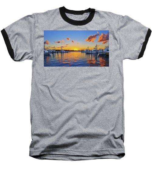 Sunset Over The Sailfish Marina In Riviera Beach Florida Baseball T-Shirt