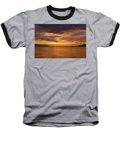 Sunset Over The Sea, Opuzen, Croatia Baseball T-Shirt