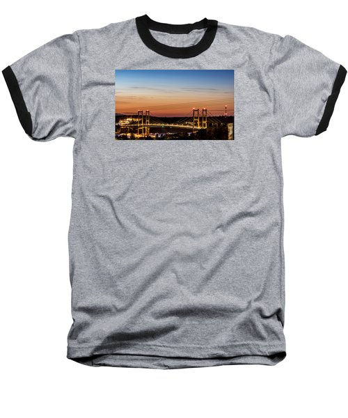 Baseball T-Shirt featuring the photograph Sunset Over The Tacoma Narrows Bridges by Rob Green