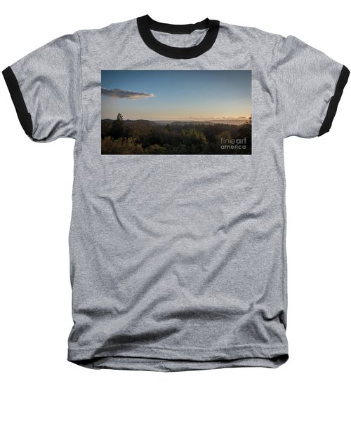 Sunset Over Top Of Dense Forest Baseball T-Shirt