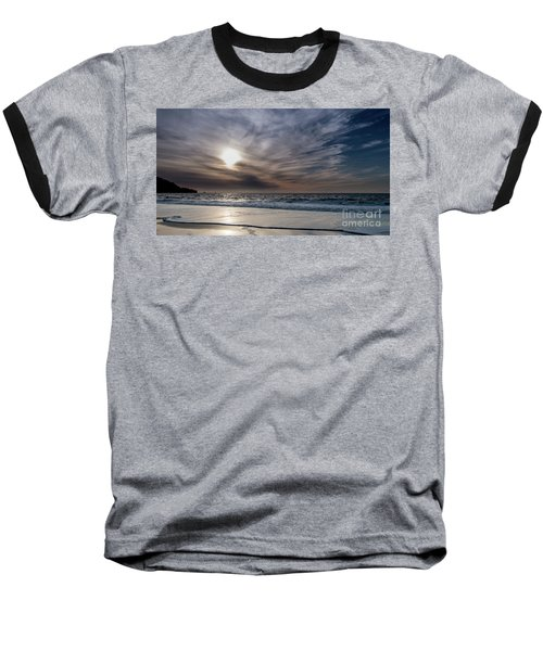 Sunset Over West Coast Beach With Silk Clouds In The Sky Baseball T-Shirt