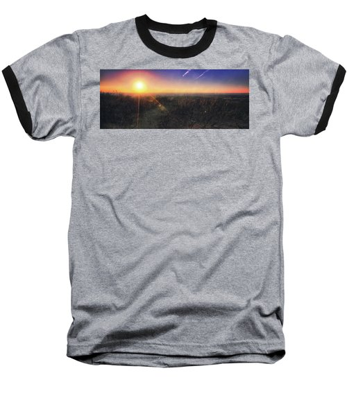 Baseball T-Shirt featuring the photograph Sunset Over Wisconsin Treetops At Lapham Peak  by Jennifer Rondinelli Reilly - Fine Art Photography
