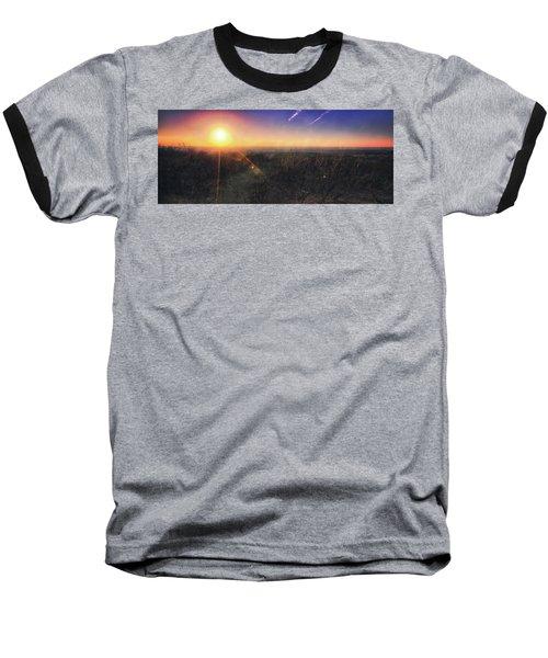 Sunset Over Wisconsin Treetops At Lapham Peak  Baseball T-Shirt by Jennifer Rondinelli Reilly - Fine Art Photography
