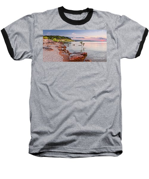 Sunset Panorama Of Canyon Lake East Shore New Braunfels Guadalupe River Texas Hill Country Baseball T-Shirt