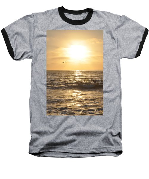 Sunset Pelican Silhouette Baseball T-Shirt
