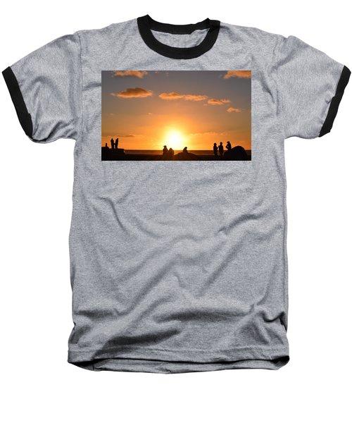 Sunset People In Imperial Beach Baseball T-Shirt by Karen J Shine