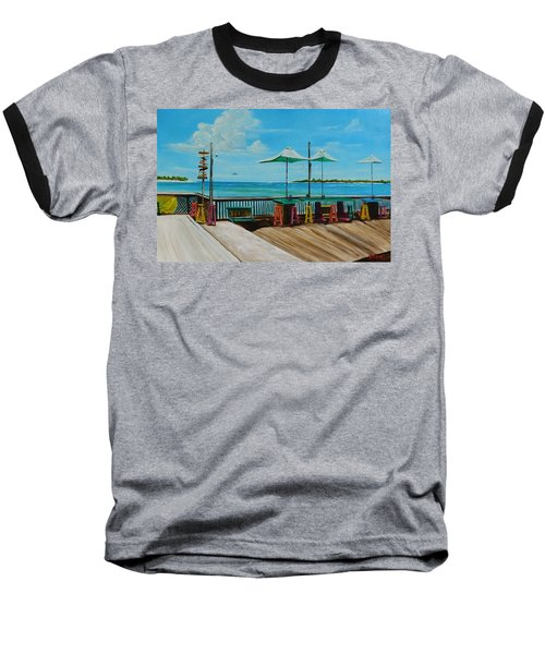 Sunset Pier Tiki Bar - Key West Florida Baseball T-Shirt by Lloyd Dobson