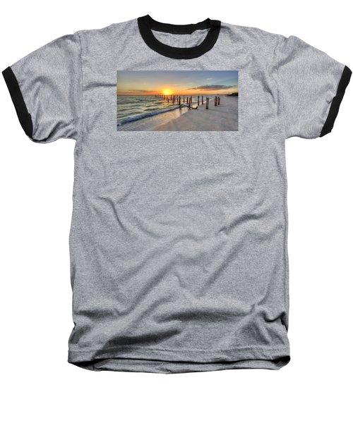 Sunset Pilings Baseball T-Shirt by Sean Allen