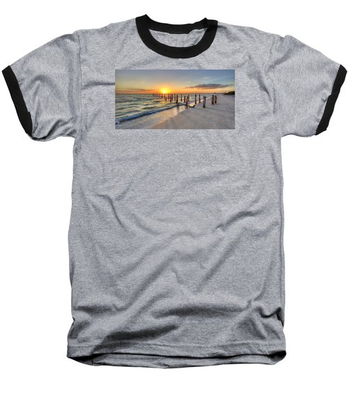 Sunset Pilings Baseball T-Shirt