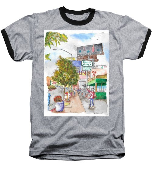 Sunset Plaza, Sunset Blvd., And Londonderry, West Hollywood, California Baseball T-Shirt by Carlos G Groppa