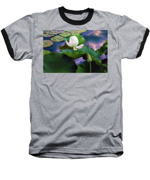 Sunset Pond Lotus Baseball T-Shirt