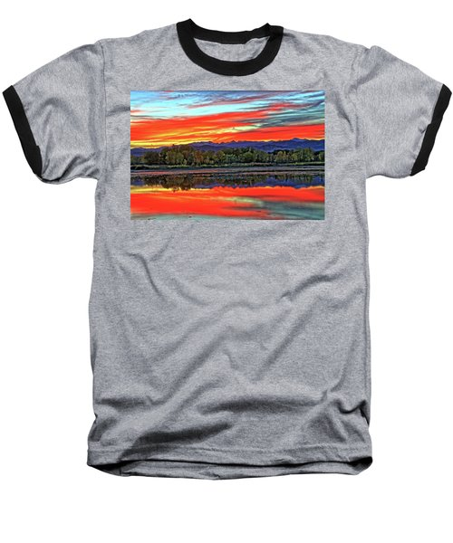 Baseball T-Shirt featuring the photograph Sunset Ponds by Scott Mahon