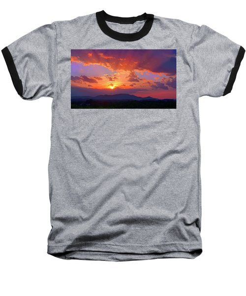 Sunset Rays At Smith Mountain Lake Baseball T-Shirt