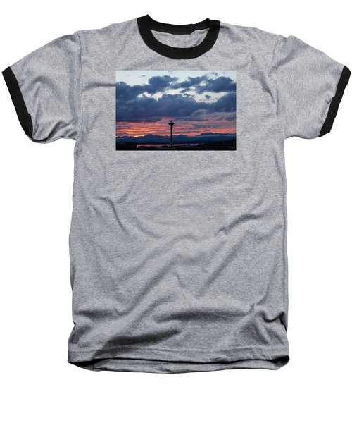 Sunset Red Clouds And Space Needle Baseball T-Shirt by Suzanne Lorenz