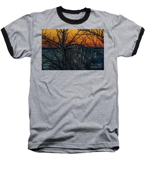 Sunset Reflecting Off Ice On Bare Trees Baseball T-Shirt