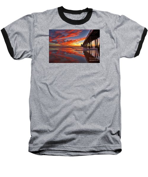 Sunset Reflections At The Imperial Beach Pier Baseball T-Shirt by Sam Antonio Photography