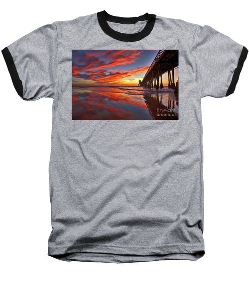 Sunset Reflections At The Imperial Beach Pier Baseball T-Shirt