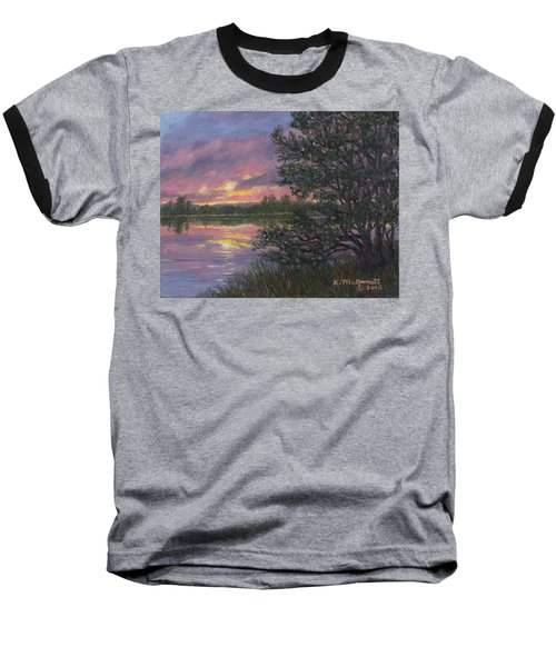 Baseball T-Shirt featuring the painting Sunset River # 8 by Kathleen McDermott