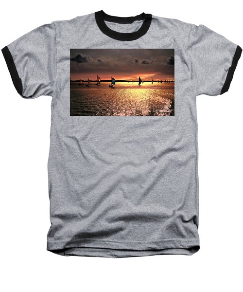 Sunset Sail - Bermuda Baseball T-Shirt by Judy Palkimas