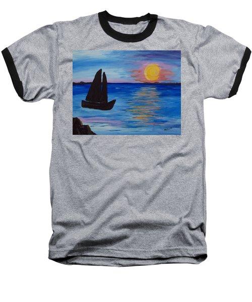 Sunset Sail Dark Baseball T-Shirt by Barbara McDevitt